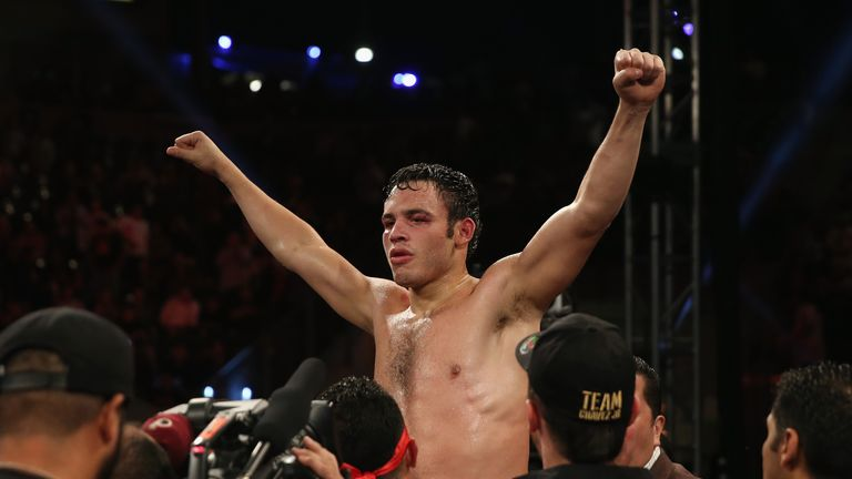 Julio Cesar Chavez Jr. celebrates his victory over Brian Vera