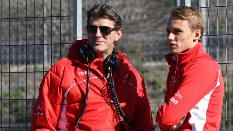 Graeme Lowdon on the pitwall with Max Chilton during testing