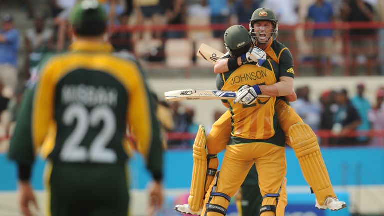 Mike Hussey and Mitchell Johnson celebrate after Australia's semi-final win over Pakistan at the 2010 World Twenty20