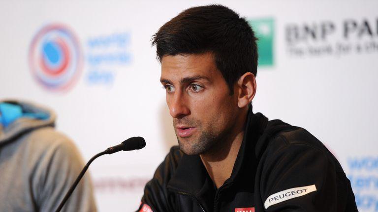 Novak Djokovic of Serbia answers questions during the BNP Paribas Showdown Press Conference