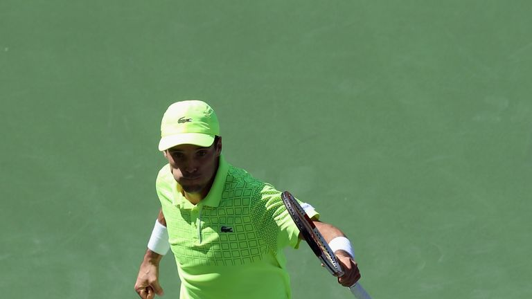 Roberto Bautista Agut: Celebrates victory over Tomas Berdych at Indian Wells