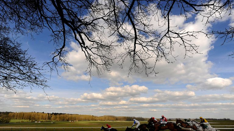 Runners in action during the second race at Towcester