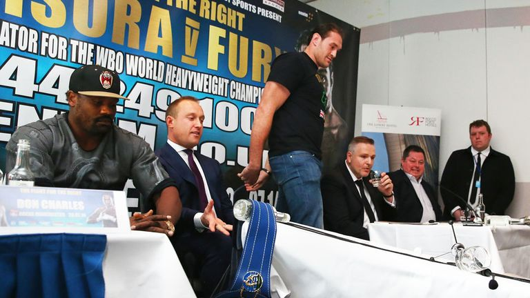 Tyson Fury: tipped over table during press conference with Dereck Chisora
