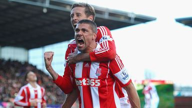 Jon Walters: Stoke forward celebrates with Peter Crouch