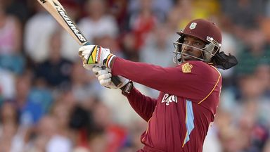 Chris Gayle: Hit four sixes before being bowled by Ravi Bopara