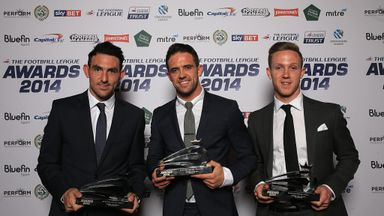 The Sky Bet Player of the Year award winners (left-right) Chesterfield's Gary Roberts, Burnley's Danny Ings, and Brentford's Adam Forshaw