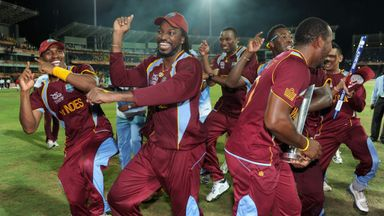 Chris Gayle celebrates West Indies' World Twenty20 victory in 2012