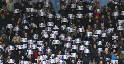 Birmingham City fans protesting in the game against Huddersfield