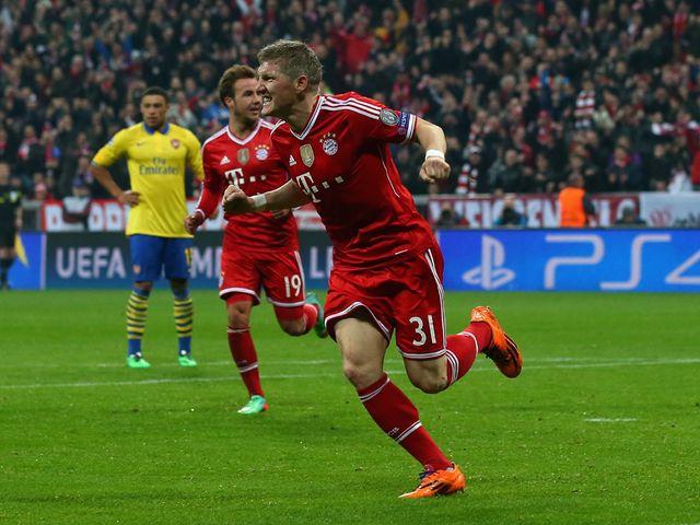 Bastian Schweinsteiger celebrates for Bayern Munich