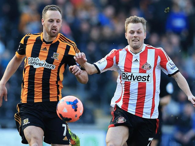 David Meyler and Sebastian Larsson battle for the ball