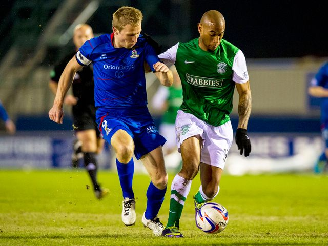 Richie Foran battles with Danny Haynes
