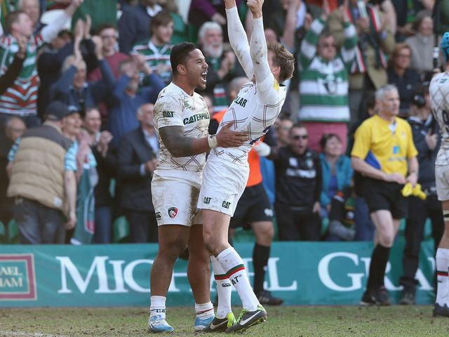 Manu Tuilagi and Toby Flood celebrate