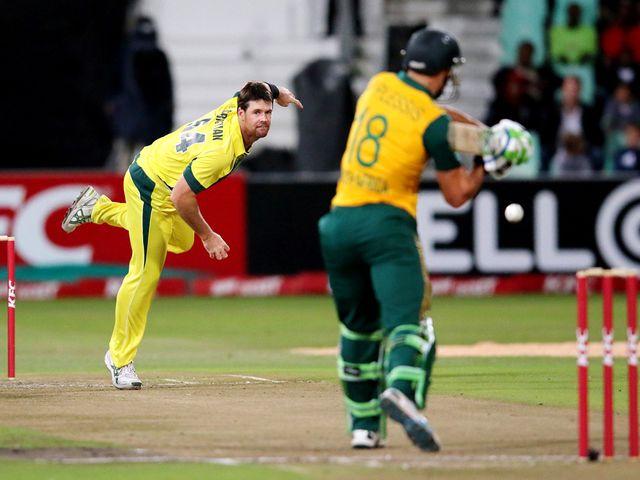 Daniel Christian bowls to Faf du Plessis