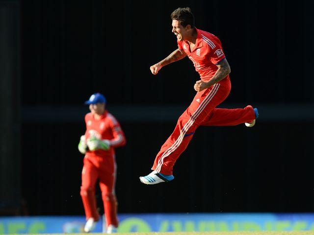 Jade Dernbach celebrates England's victory