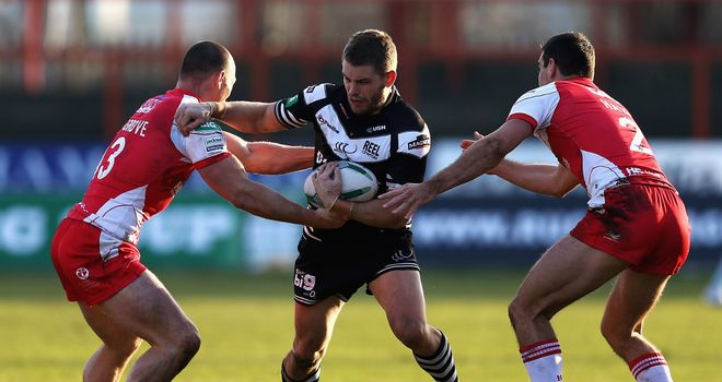 Rhys Hanbury: scored two of Widnes' seven tries