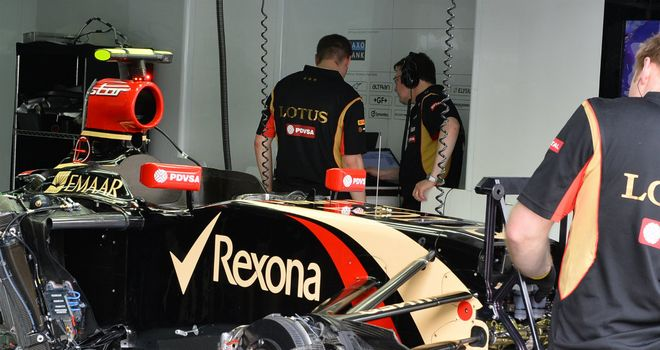 On the sidelines: Pastor Maldonado's car in P2