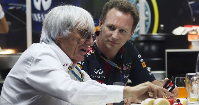 Bernie Ecclestone and Christian Horner in the Red Bull motorhome at Sepang