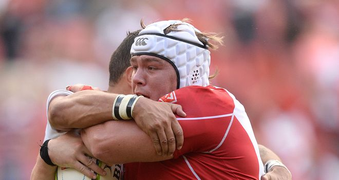 Corne Fourie on the charge for the Lions