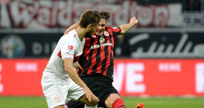 Moritz Leitner can't avoid Alexander Meier