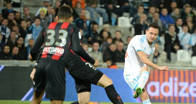 Florian Thauvin of Marseille shoots for goal