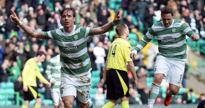 Stefan Johansen celebrates the first goal at Celtic Park