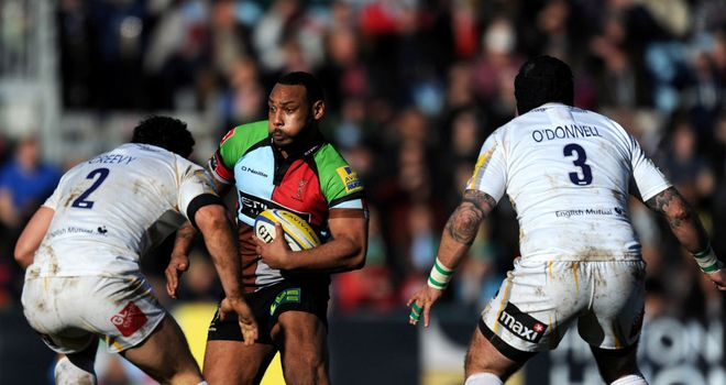 Jordan Turner-Hall on the charge for Quins
