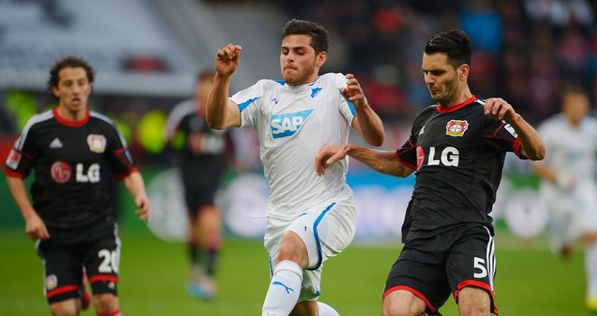 Kevin Volland and Emir Spahic battle for the ball