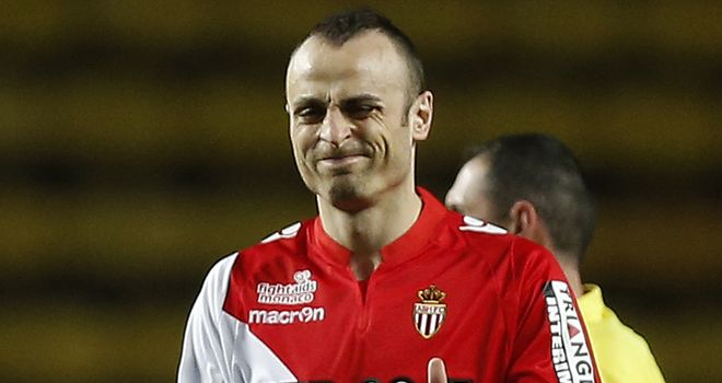 Monaco's Bulgarian forward Dimitar Berbatov celebrates