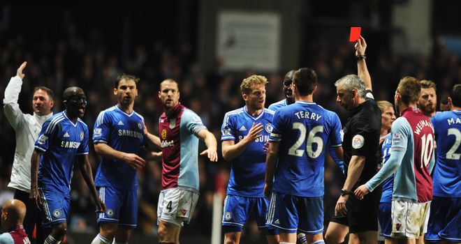 Ramires' sending off prompted the scuffle at Villa Park