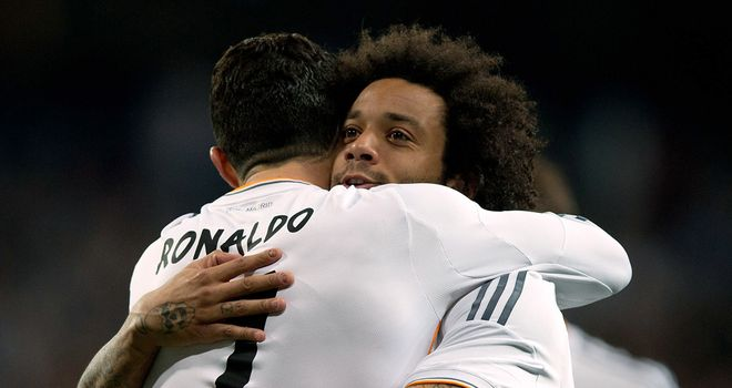 Marcelo of Real Madrid celebrates after scoring