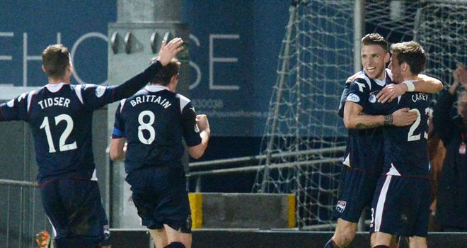 Ross County celebrate Melvin De Leeuw's header