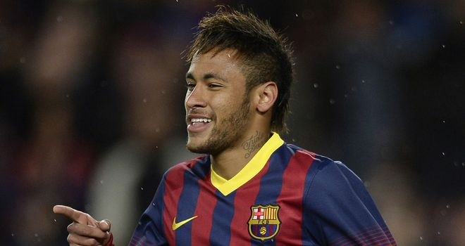 Neymar celebrates after scoring against Celta Vigo