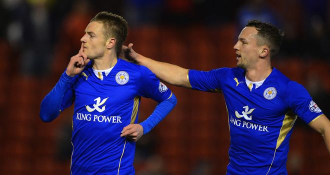 Jamie Vardy: Celebrates his opening goal against Barnsley