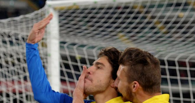 Alberto Paloschi of Chievo Verona celebrates