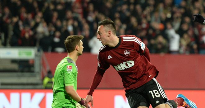 Josip Drmic of Nuernberg celebrates after scoring his team's second goal