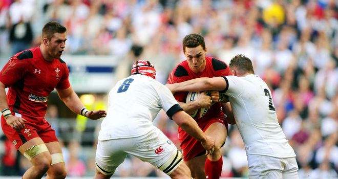 George North: Wales wing on the charge at Twickenham