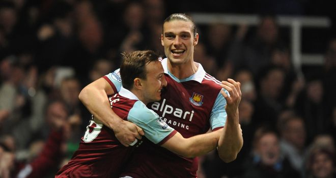 Mark Noble: Celebrates with Andy Carroll after giving West Ham the lead