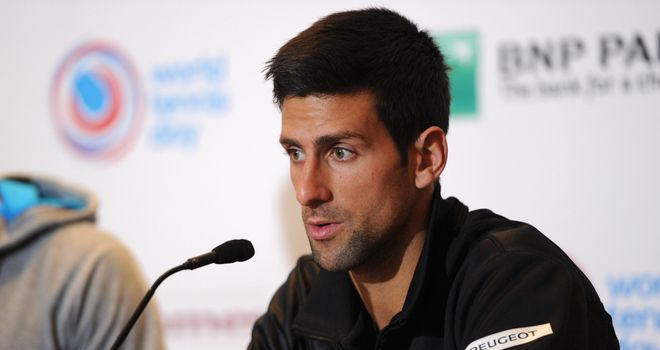 Novak Djokovic of Serbia answers questions during the BNP Paribas Showdown Press Conference