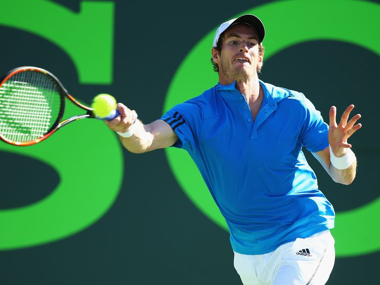 Murray stretches to return a forehand