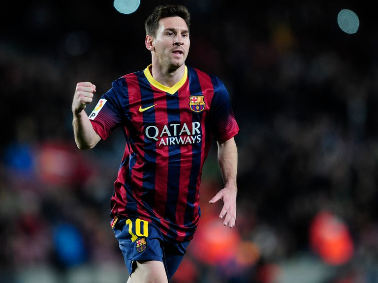 Lionel Messi celebrates against Almeria