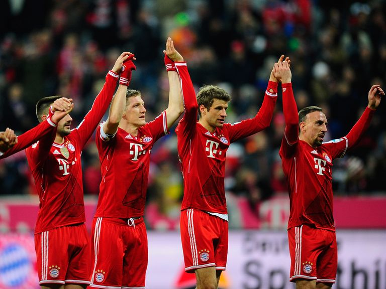 Bayern Munich celebrate their victory over Leverkusen