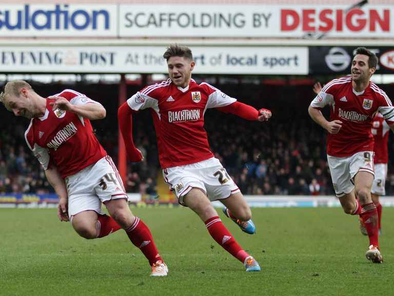 Simon Gillett celebrates his goal for Bristol City