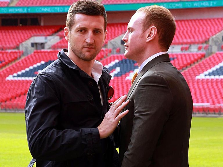 Froch (l) and Groves pose at Wembley on Monday