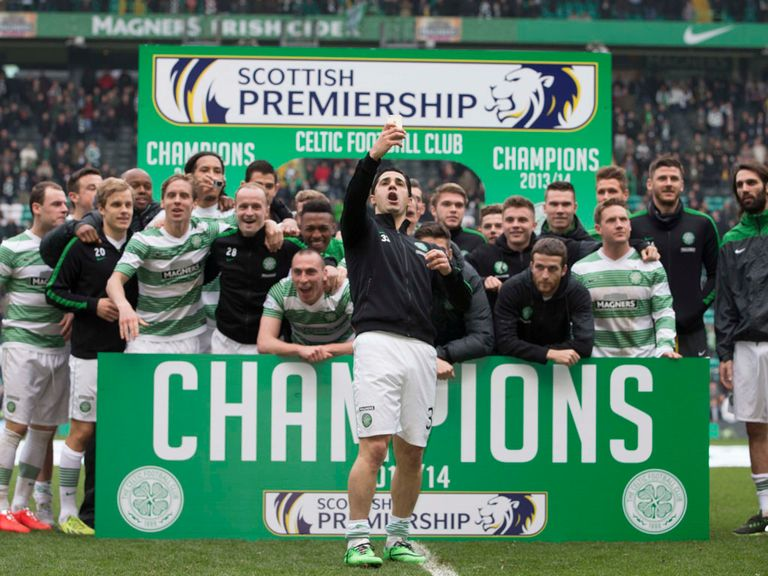 Celtic celebrate their title success following Saturday's draw