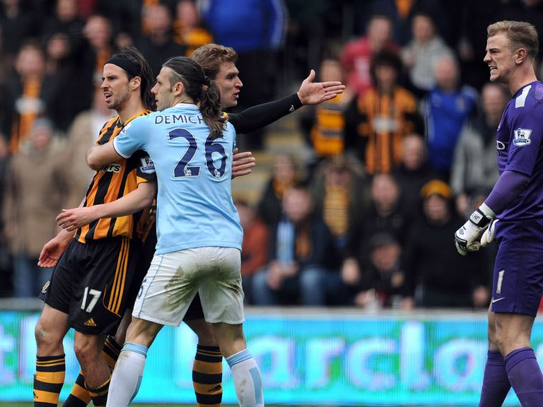 George Boyd and Joe Hart: Clashed during Man City's 2-0 win over Hull