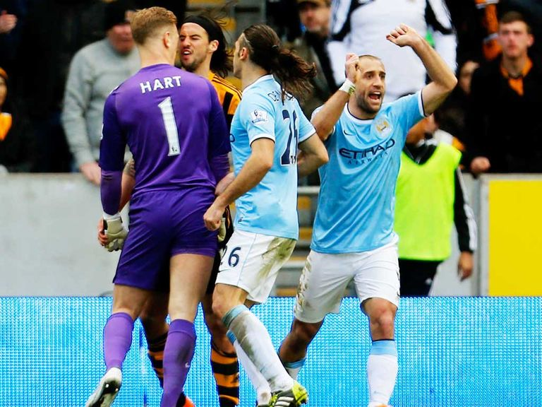 Joe Hart and George Boyd clash during Saturday's match