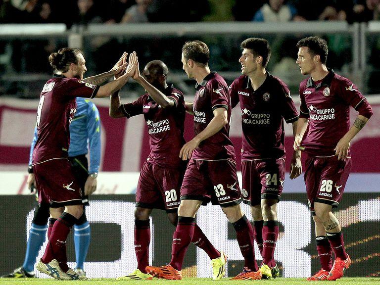 Livorno celebrate their equaliser against Inter