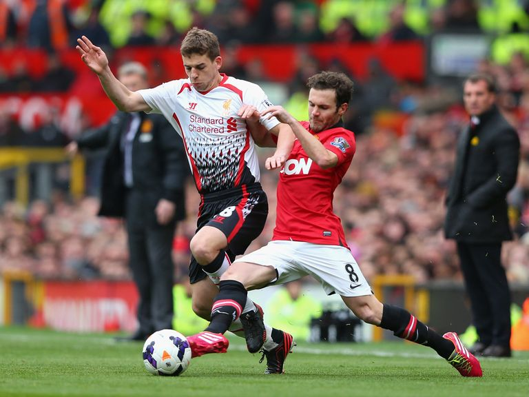 Juan Mata in action against Liverpool