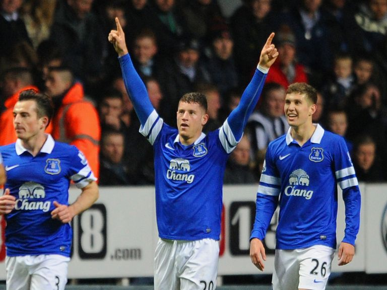 Ross Barkley celebrates after opening the scoring with a fine individual goal