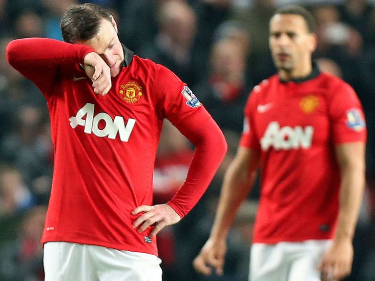 Wayne Rooney looks dejected during the Manchester derby on Tuesday night